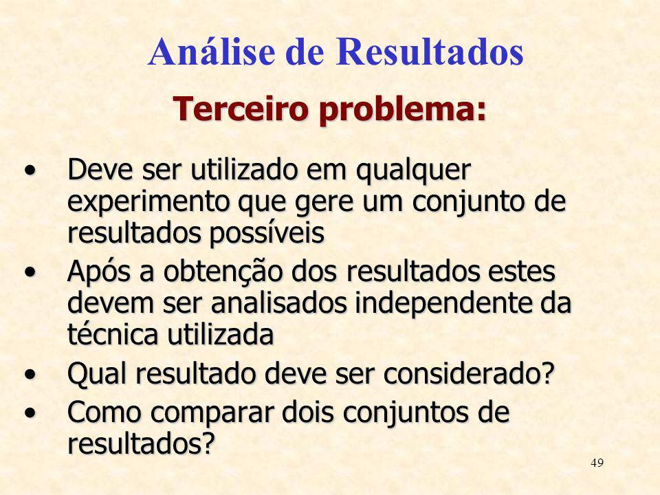 49 Análise de Resultados Terceiro problema: Deve ser utilizado em qualquer experimento que gere um conjunto de resultados possíveisDeve ser utilizado