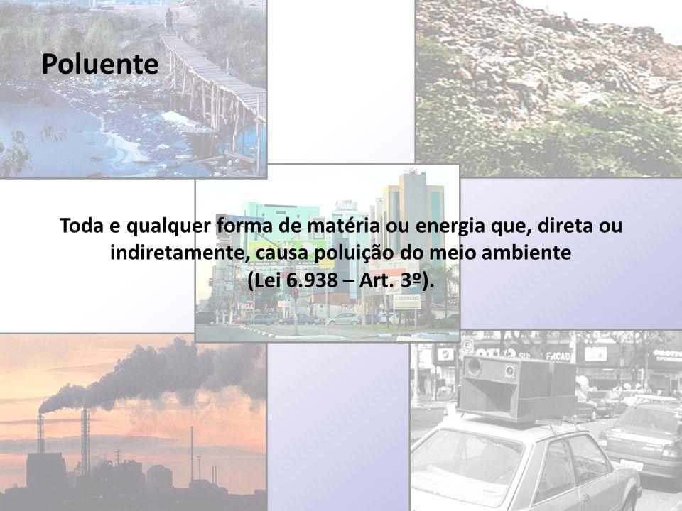 Poluente Toda e qualquer forma de matéria ou energia que, direta ou indiretamente, causa poluição do meio ambiente (Lei 6.938 – Art. 3º).