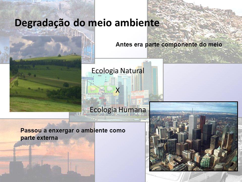 Degradação do meio ambiente Ecologia Natural X Ecologia Humana Passou a enxergar o ambiente como parte externa Antes era parte componente do meio