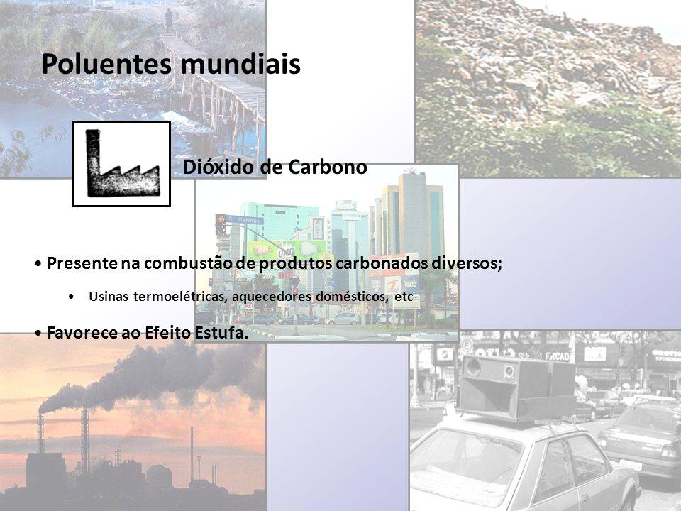 Poluentes mundiais Dióxido de Carbono Presente na combustão de produtos carbonados diversos; Usinas termoelétricas, aquecedores domésticos, etc Favore
