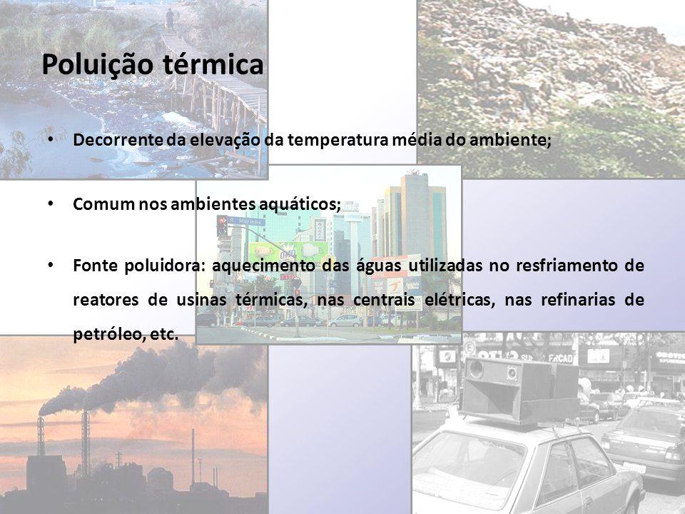 Poluição térmica Decorrente da elevação da temperatura média do ambiente; Comum nos ambientes aquáticos; Fonte poluidora: aquecimento das águas utiliz
