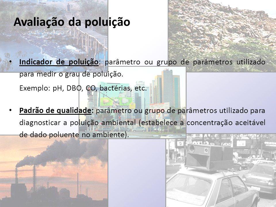 Avaliação da poluição Indicador de poluição: parâmetro ou grupo de parâmetros utilizado para medir o grau de poluição. Exemplo: pH, DBO, CO, bactérias