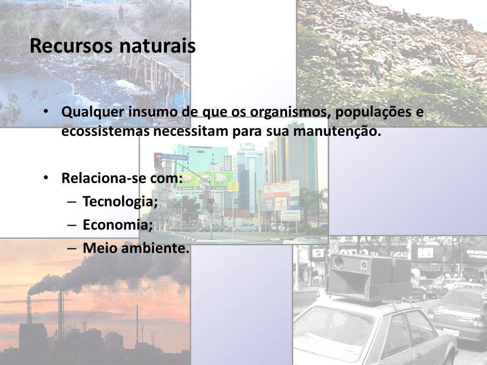 Recursos naturais Qualquer insumo de que os organismos, populações e ecossistemas necessitam para sua manutenção. Relaciona-se com: – Tecnologia; – Ec