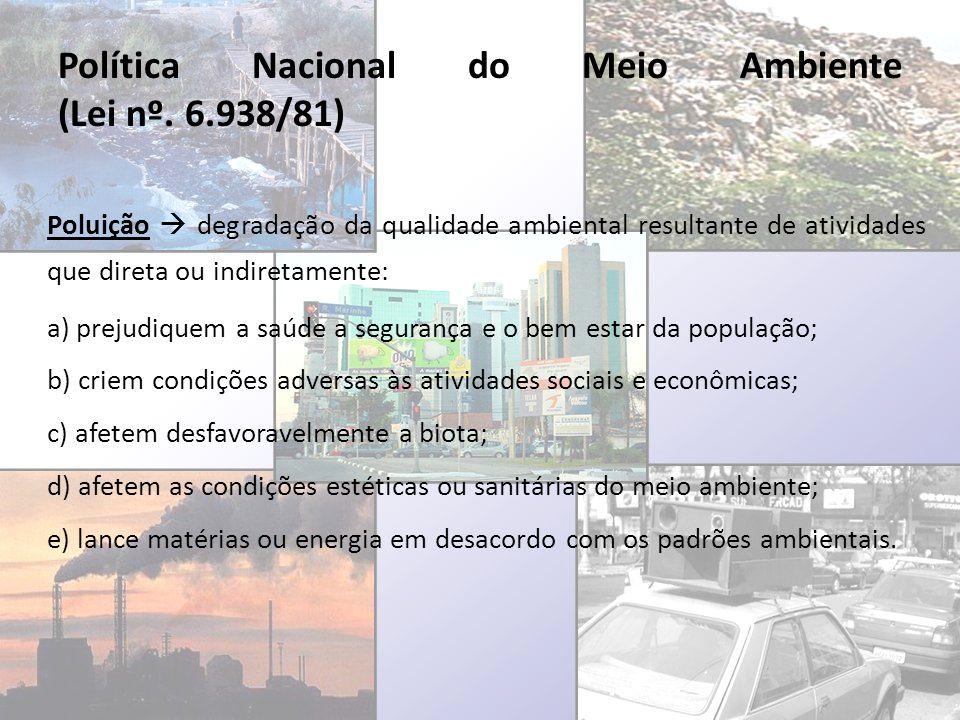Política Nacional do Meio Ambiente (Lei nº. 6.938/81) Poluição degradação da qualidade ambiental resultante de atividades que direta ou indiretamente: