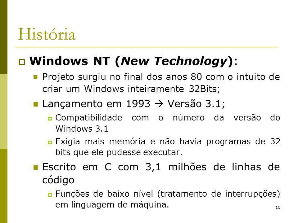10 História Windows NT (New Technology): Projeto surgiu no final dos anos 80 com o intuito de criar um Windows inteiramente 32Bits; Lançamento em 1993 Versão 3.1; Compatibilidade com o número da versão do Windows 3.1 Exigia mais memória e não havia programas de 32 bits que ele pudesse executar.