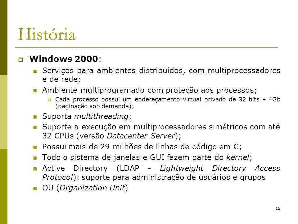 15 História Windows 2000: Serviços para ambientes distribuídos, com multiprocessadores e de rede; Ambiente multiprogramado com proteção aos processos; Cada processo possui um endereçamento virtual privado de 32 bits – 4Gb (paginação sob demanda); Suporta multithreading; Suporte a execução em multiprocessadores simétricos com até 32 CPUs (versão Datacenter Server); Possui mais de 29 milhões de linhas de código em C; Todo o sistema de janelas e GUI fazem parte do kernel; Active Directory (LDAP - Lightweight Directory Access Protocol): suporte para administração de usuários e grupos OU (Organization Unit)