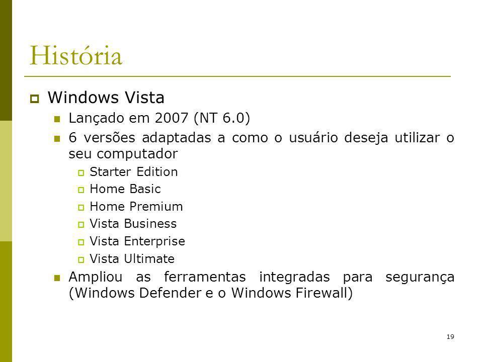 19 História Windows Vista Lançado em 2007 (NT 6.0) 6 versões adaptadas a como o usuário deseja utilizar o seu computador Starter Edition Home Basic Home Premium Vista Business Vista Enterprise Vista Ultimate Ampliou as ferramentas integradas para segurança (Windows Defender e o Windows Firewall)