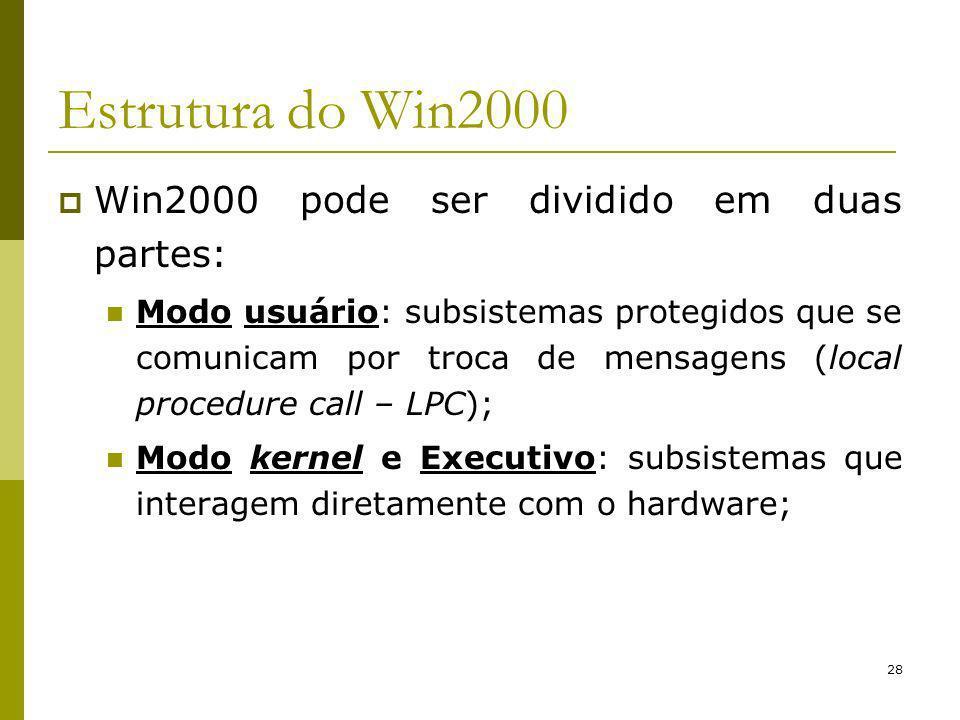 28 Estrutura do Win2000 Win2000 pode ser dividido em duas partes: Modo usuário: subsistemas protegidos que se comunicam por troca de mensagens (local procedure call – LPC); Modo kernel e Executivo: subsistemas que interagem diretamente com o hardware;