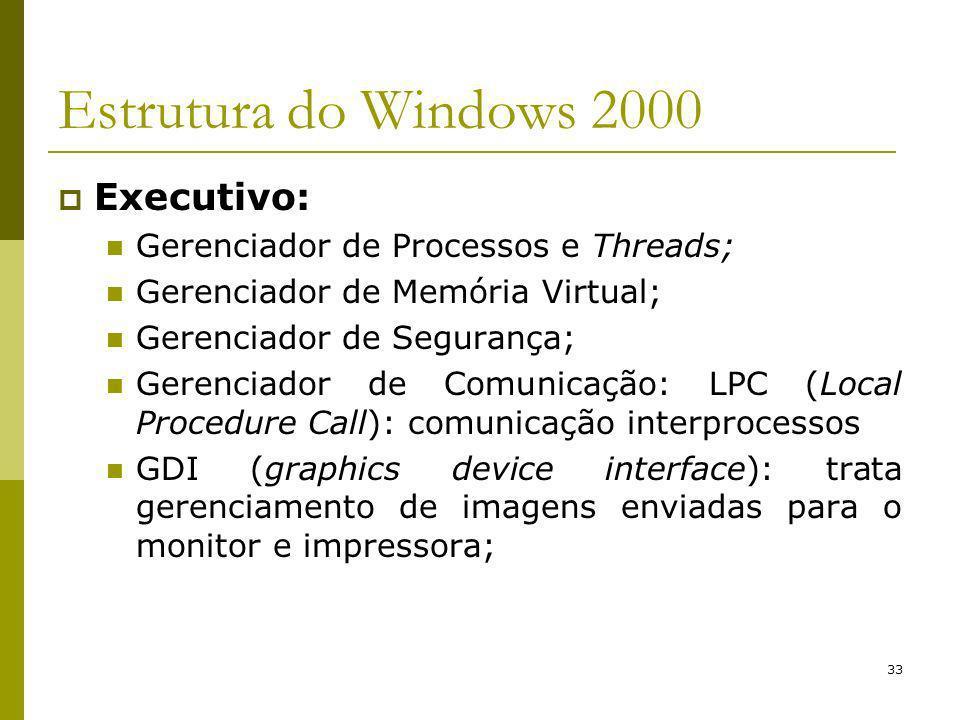 33 Estrutura do Windows 2000 Executivo: Gerenciador de Processos e Threads; Gerenciador de Memória Virtual; Gerenciador de Segurança; Gerenciador de Comunicação: LPC (Local Procedure Call): comunicação interprocessos GDI (graphics device interface): trata gerenciamento de imagens enviadas para o monitor e impressora;
