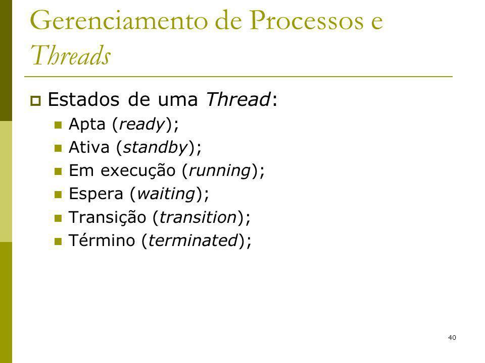40 Gerenciamento de Processos e Threads Estados de uma Thread: Apta (ready); Ativa (standby); Em execução (running); Espera (waiting); Transição (transition); Término (terminated);