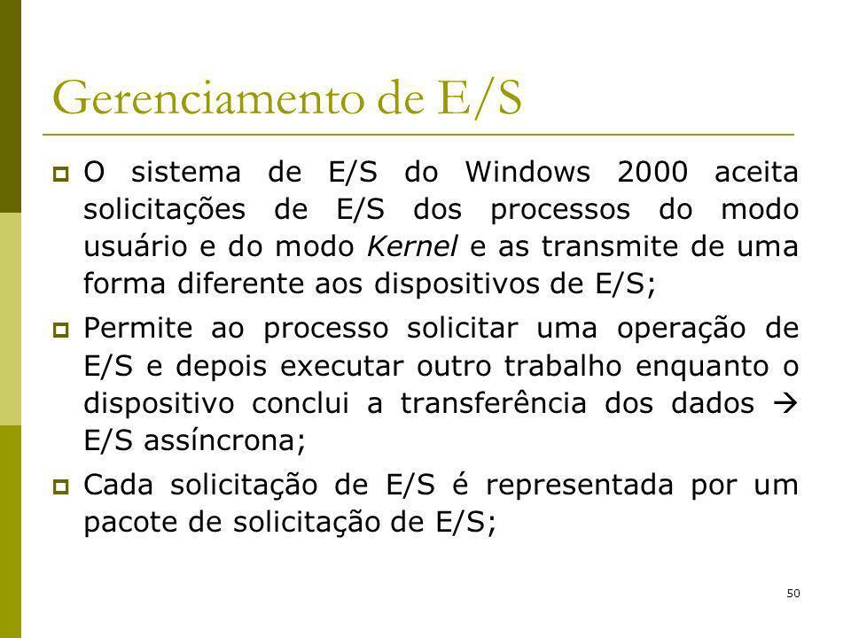 50 Gerenciamento de E/S O sistema de E/S do Windows 2000 aceita solicitações de E/S dos processos do modo usuário e do modo Kernel e as transmite de uma forma diferente aos dispositivos de E/S; Permite ao processo solicitar uma operação de E/S e depois executar outro trabalho enquanto o dispositivo conclui a transferência dos dados E/S assíncrona; Cada solicitação de E/S é representada por um pacote de solicitação de E/S;