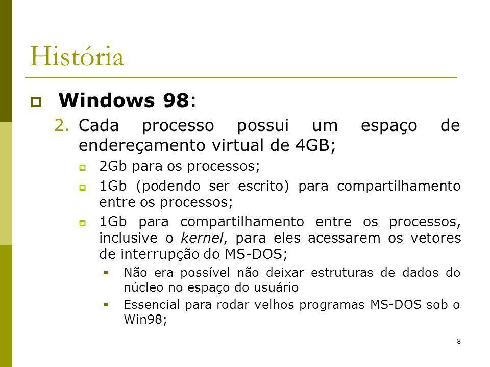 8 História Windows 98: 2.Cada processo possui um espaço de endereçamento virtual de 4GB; 2Gb para os processos; 1Gb (podendo ser escrito) para compartilhamento entre os processos; 1Gb para compartilhamento entre os processos, inclusive o kernel, para eles acessarem os vetores de interrupção do MS-DOS; Não era possível não deixar estruturas de dados do núcleo no espaço do usuário Essencial para rodar velhos programas MS-DOS sob o Win98;