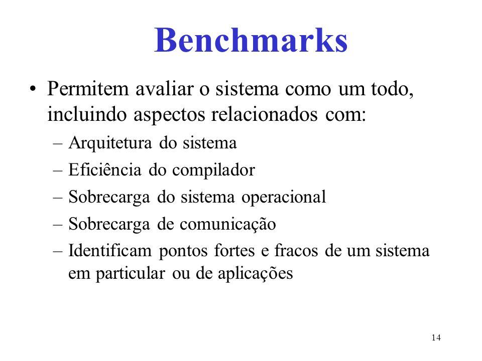 Permitem avaliar o sistema como um todo, incluindo aspectos relacionados com: –Arquitetura do sistema –Eficiência do compilador –Sobrecarga do sistema operacional –Sobrecarga de comunicação –Identificam pontos fortes e fracos de um sistema em particular ou de aplicações Benchmarks 14