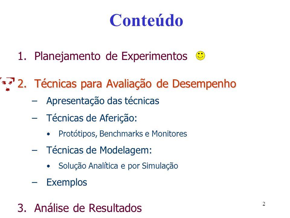 Conteúdo 1.Planejamento de Experimentos 2.Técnicas para Avaliação de Desempenho –Apresentação das técnicas –Técnicas de Aferição: Protótipos, Benchmarks e Monitores –Técnicas de Modelagem: Solução Analítica e por Simulação –Exemplos 3.Análise de Resultados 2
