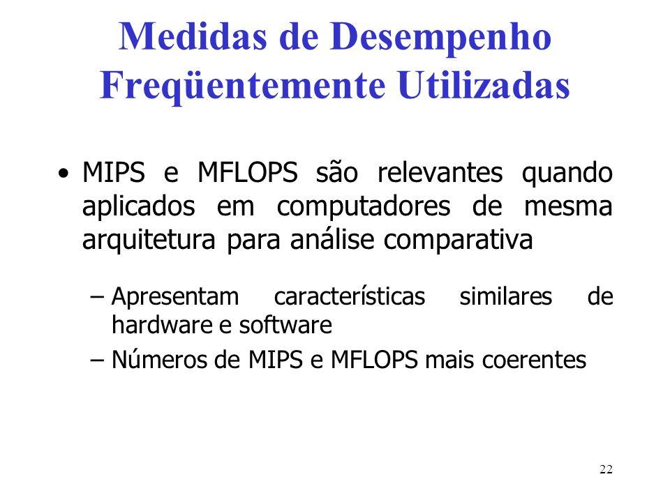 Medidas de Desempenho Freqüentemente Utilizadas MIPS e MFLOPS são relevantes quando aplicados em computadores de mesma arquitetura para análise comparativa –Apresentam características similares de hardware e software –Números de MIPS e MFLOPS mais coerentes 22