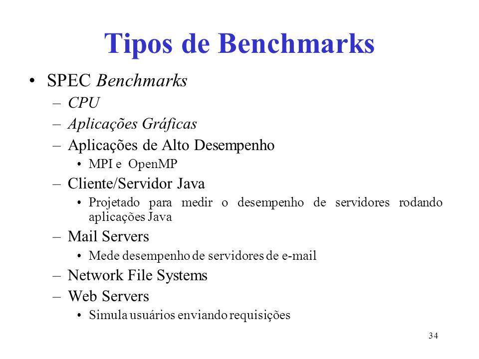 Tipos de Benchmarks SPEC Benchmarks –CPU –Aplicações Gráficas –Aplicações de Alto Desempenho MPI e OpenMP –Cliente/Servidor Java Projetado para medir o desempenho de servidores rodando aplicações Java –Mail Servers Mede desempenho de servidores de e-mail –Network File Systems –Web Servers Simula usuários enviando requisições 34