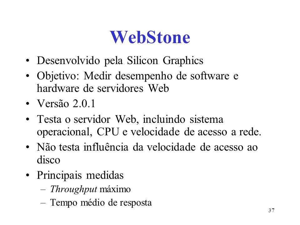 WebStone Desenvolvido pela Silicon Graphics Objetivo: Medir desempenho de software e hardware de servidores Web Versão 2.0.1 Testa o servidor Web, incluindo sistema operacional, CPU e velocidade de acesso a rede.