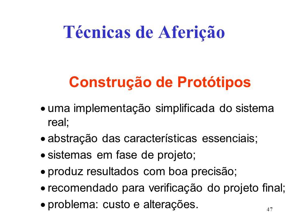 Técnicas de Aferição Construção de Protótipos uma implementação simplificada do sistema real; abstração das características essenciais; sistemas em fase de projeto; produz resultados com boa precisão; recomendado para verificação do projeto final; problema: custo e alterações.