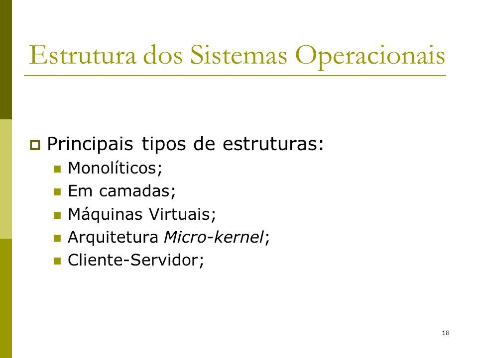 18 Estrutura dos Sistemas Operacionais Principais tipos de estruturas: Monolíticos; Em camadas; Máquinas Virtuais; Arquitetura Micro-kernel; Cliente-S
