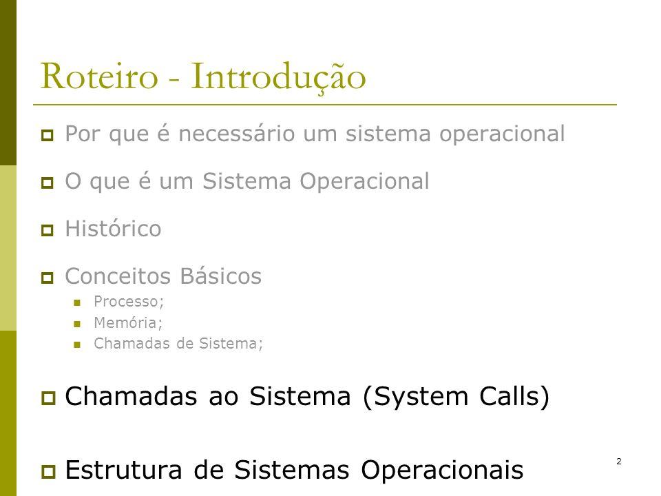 2 Roteiro - Introdução Por que é necessário um sistema operacional O que é um Sistema Operacional Histórico Conceitos Básicos Processo; Memória; Chama