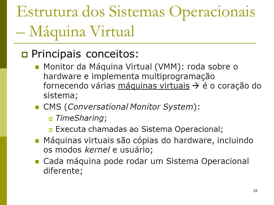 26 Estrutura dos Sistemas Operacionais – Máquina Virtual Principais conceitos: Monitor da Máquina Virtual (VMM): roda sobre o hardware e implementa mu