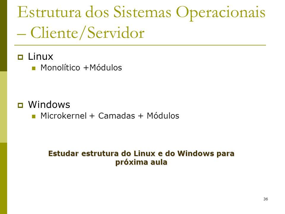 36 Estrutura dos Sistemas Operacionais – Cliente/Servidor Linux Monolítico +Módulos Windows Microkernel + Camadas + Módulos Estudar estrutura do Linux
