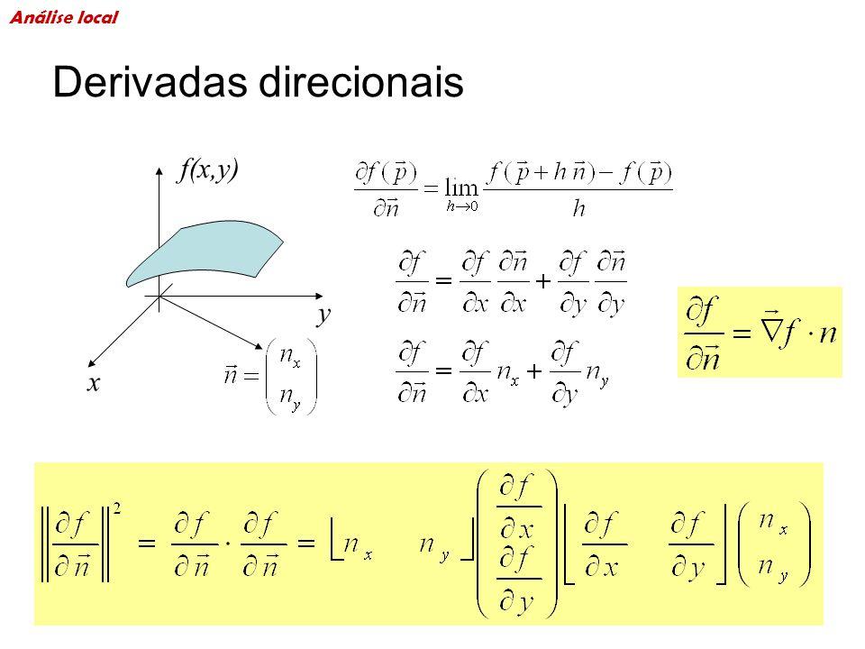 Derivadas direcionais x y f(x,y) Análise local