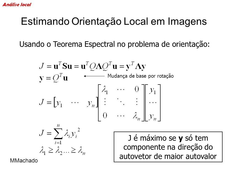 Estimando Orientação Local em Imagens J é máximo se y só tem componente na direção do autovetor de maior autovalor Mudança de base por rotação Usando
