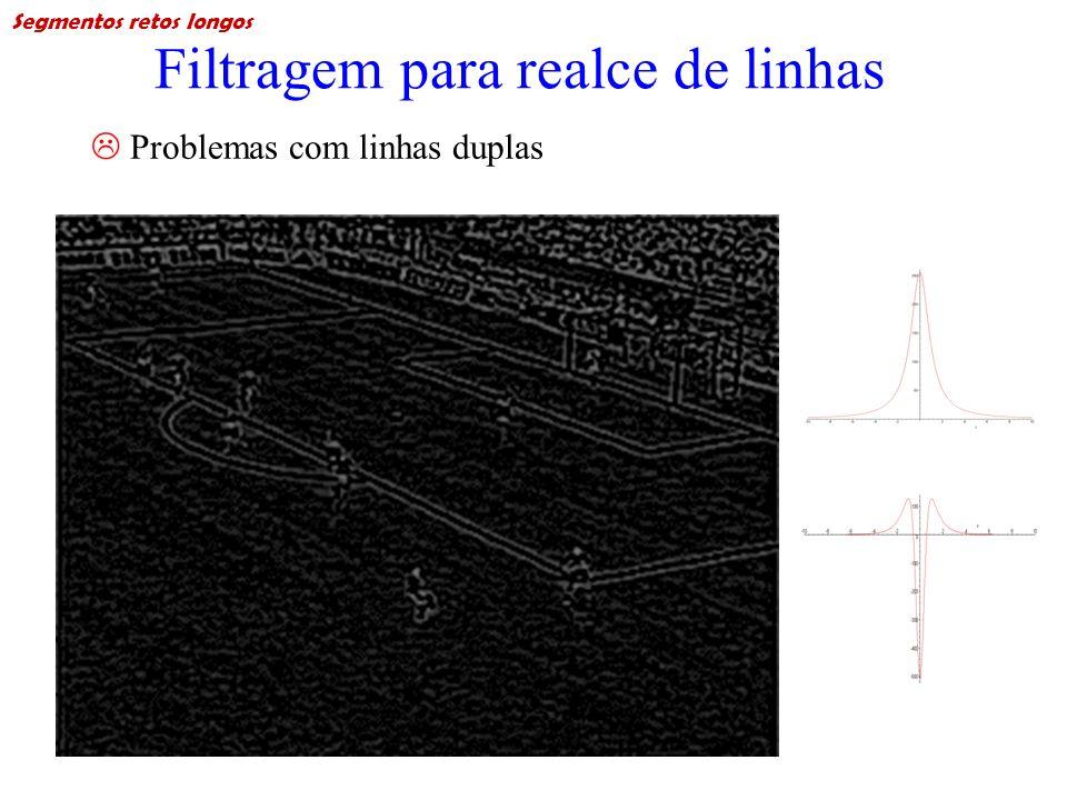 Filtragem para realce de linhas Problemas com linhas duplas Segmentos retos longos