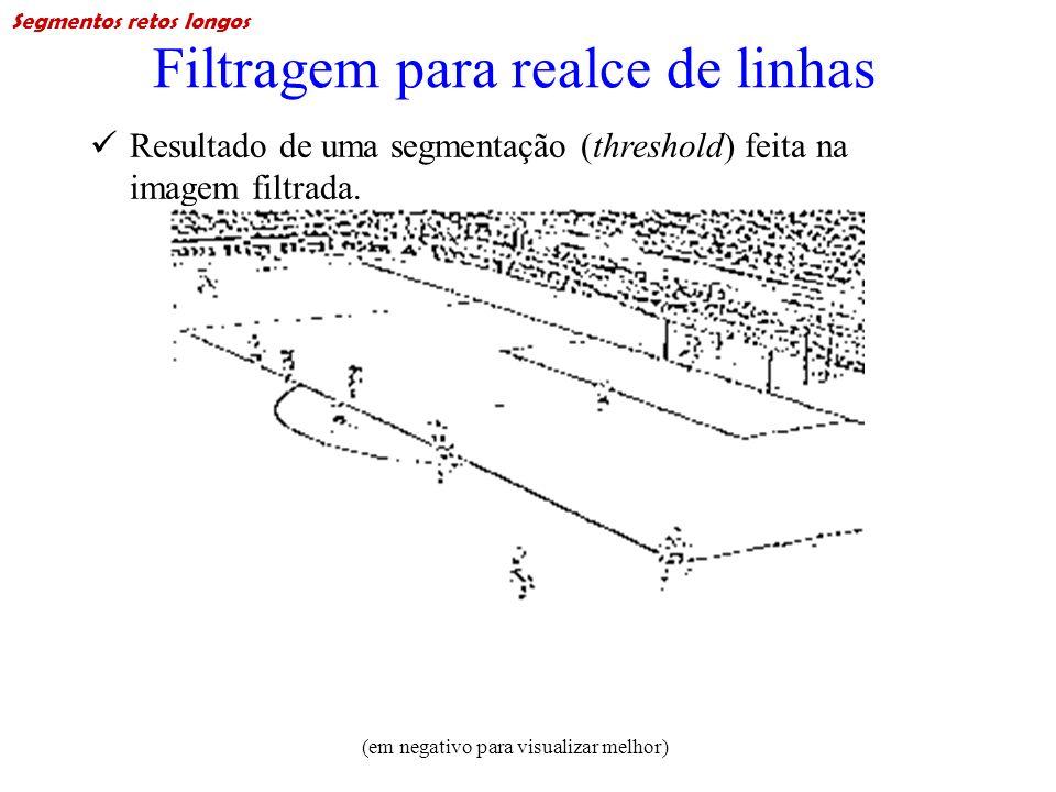 Filtragem para realce de linhas Resultado de uma segmentação (threshold) feita na imagem filtrada. (em negativo para visualizar melhor) Segmentos reto