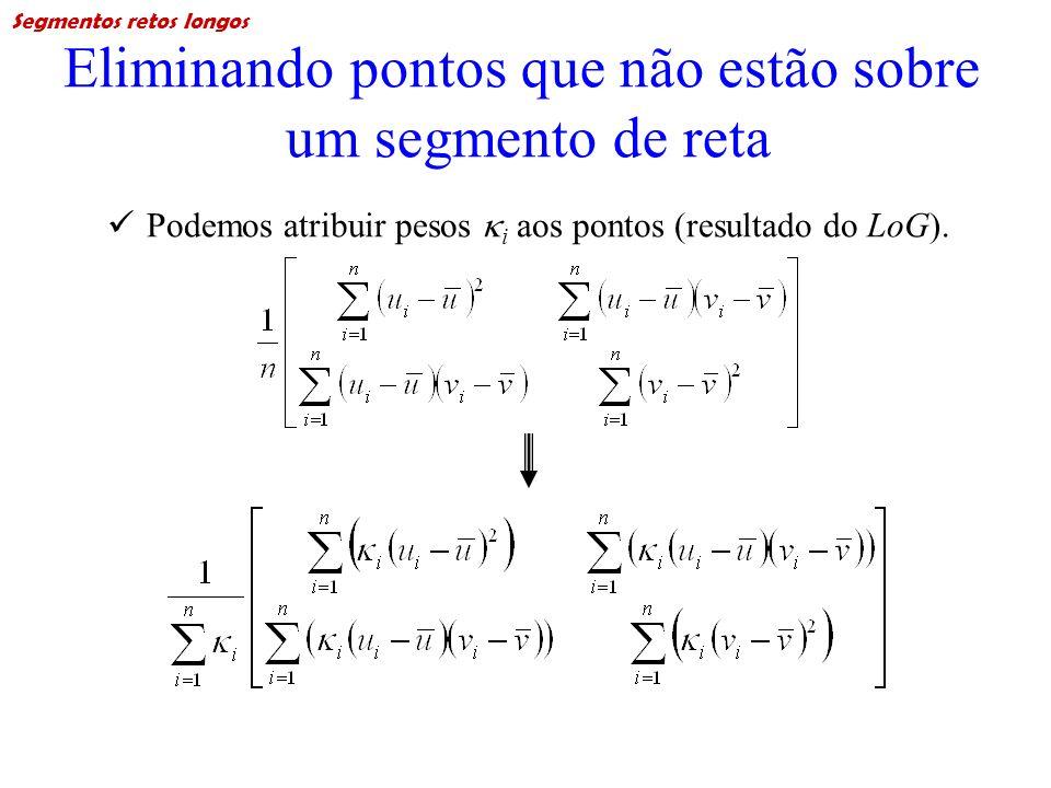 Eliminando pontos que não estão sobre um segmento de reta Podemos atribuir pesos i aos pontos (resultado do LoG). Segmentos retos longos