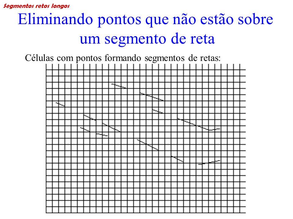 Eliminando pontos que não estão sobre um segmento de reta Células com pontos formando segmentos de retas: Segmentos retos longos