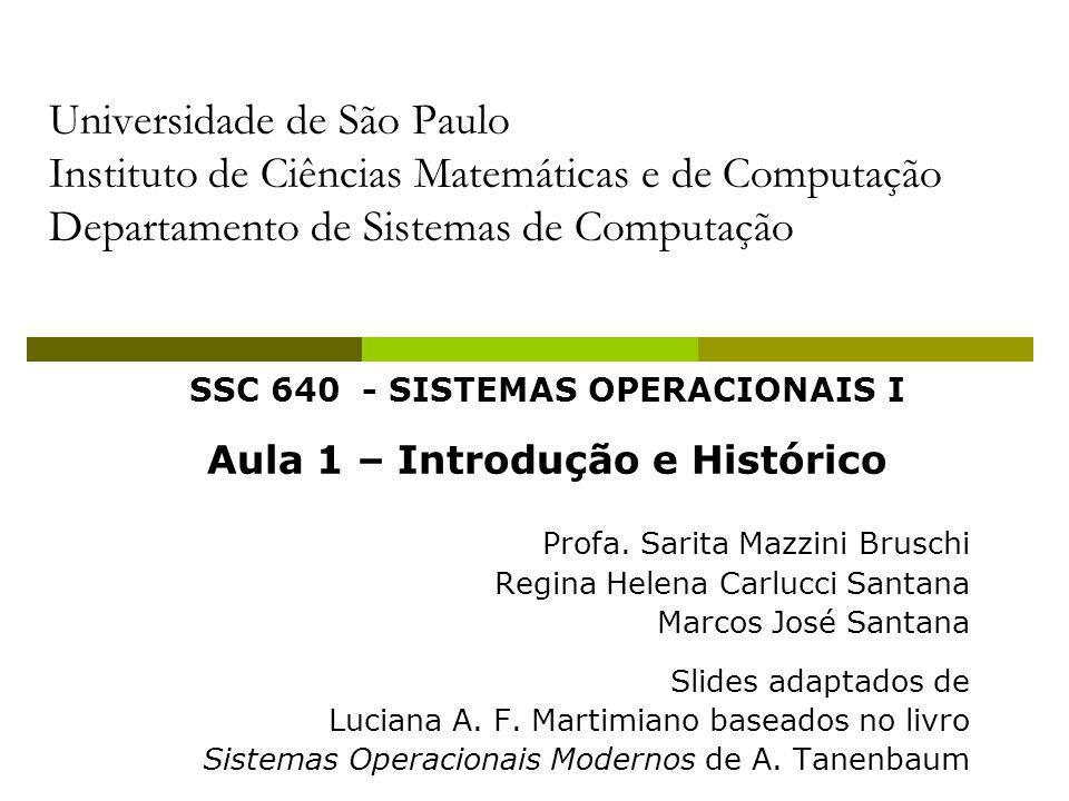 SSC 640 - SISTEMAS OPERACIONAIS I Aula 1 – Introdução e Histórico Profa. Sarita Mazzini Bruschi Regina Helena Carlucci Santana Marcos José Santana Sli