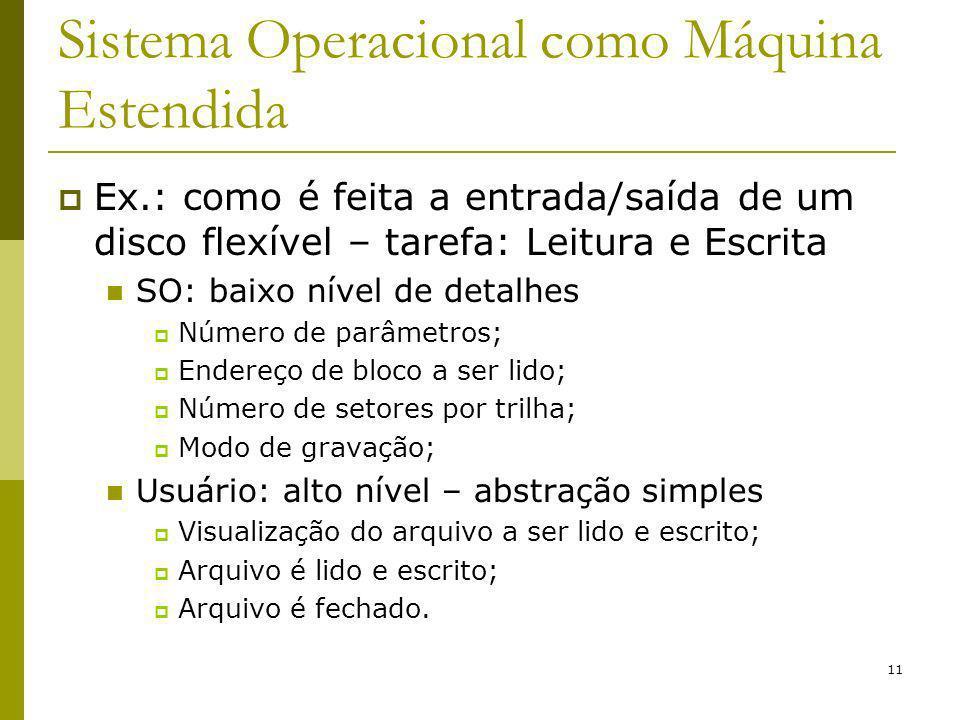 11 Sistema Operacional como Máquina Estendida Ex.: como é feita a entrada/saída de um disco flexível – tarefa: Leitura e Escrita SO: baixo nível de de
