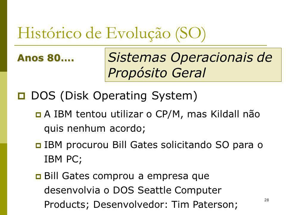 28 Histórico de Evolução (SO) Anos 80…. DOS (Disk Operating System) A IBM tentou utilizar o CP/M, mas Kildall não quis nenhum acordo; IBM procurou Bil
