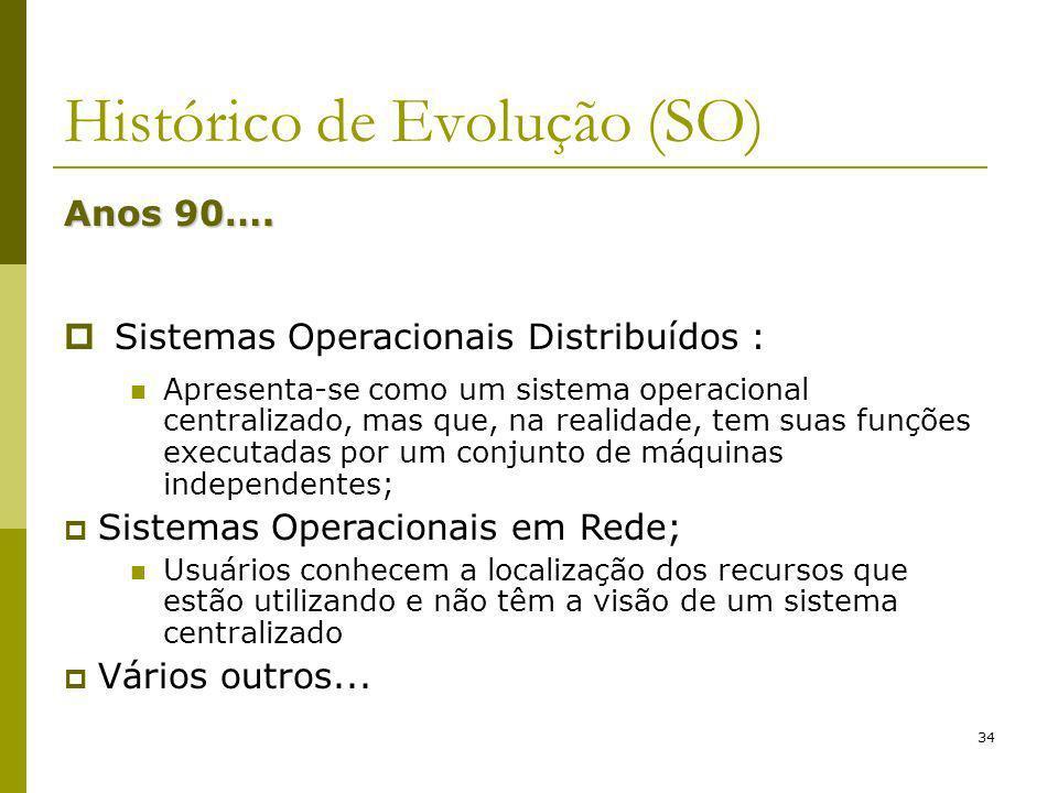 34 Histórico de Evolução (SO) Anos 90…. Sistemas Operacionais Distribuídos : Apresenta-se como um sistema operacional centralizado, mas que, na realid