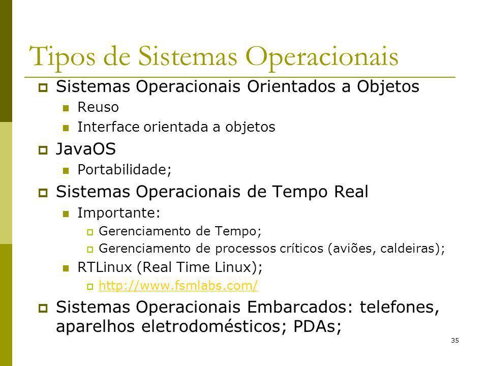 35 Tipos de Sistemas Operacionais Sistemas Operacionais Orientados a Objetos Reuso Interface orientada a objetos JavaOS Portabilidade; Sistemas Operac