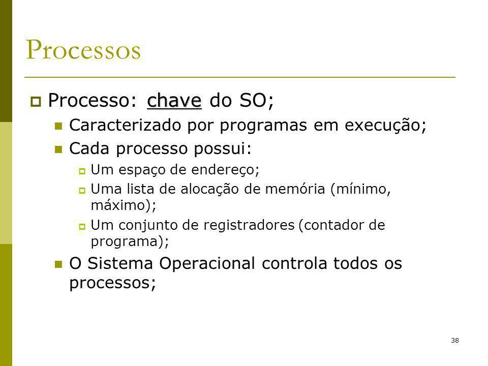 38 Processos chave Processo: chave do SO; Caracterizado por programas em execução; Cada processo possui: Um espaço de endereço; Uma lista de alocação