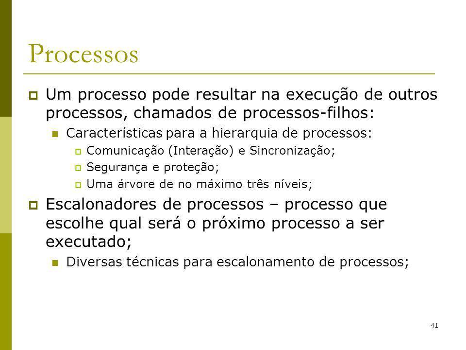 41 Processos Um processo pode resultar na execução de outros processos, chamados de processos-filhos: Características para a hierarquia de processos: