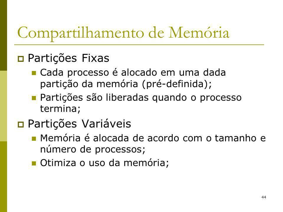 44 Compartilhamento de Memória Partições Fixas Cada processo é alocado em uma dada partição da memória (pré-definida); Partições são liberadas quando