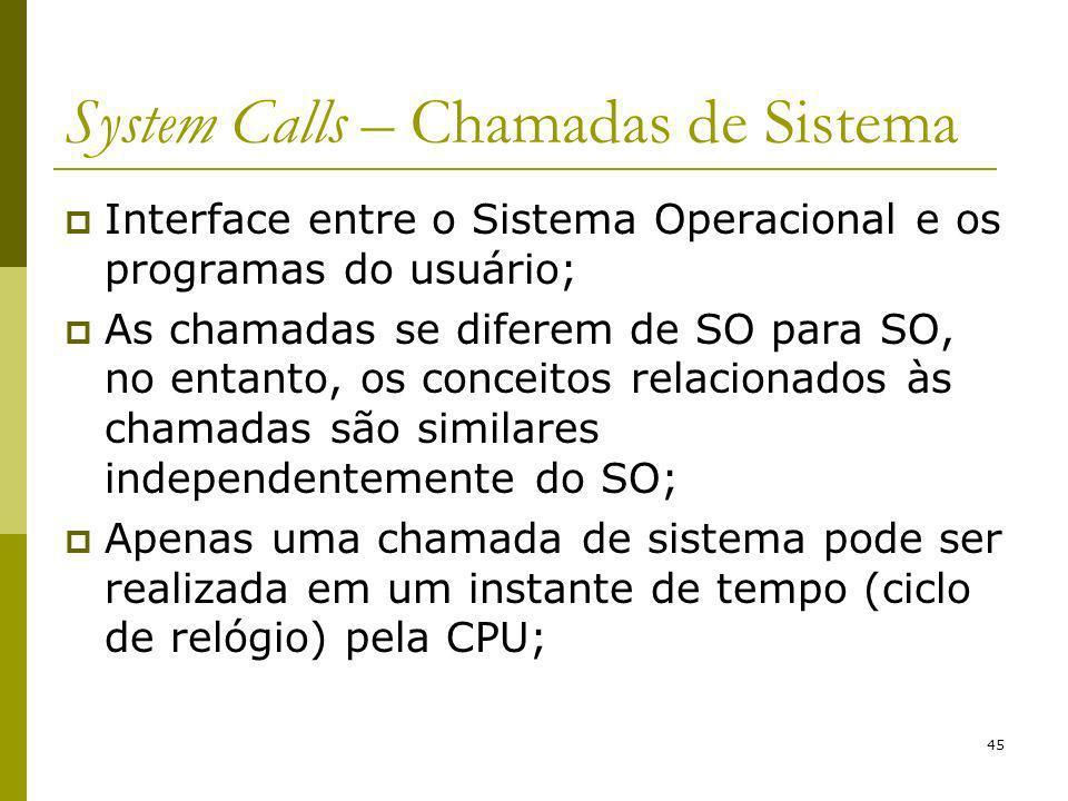 45 System Calls – Chamadas de Sistema Interface entre o Sistema Operacional e os programas do usuário; As chamadas se diferem de SO para SO, no entant
