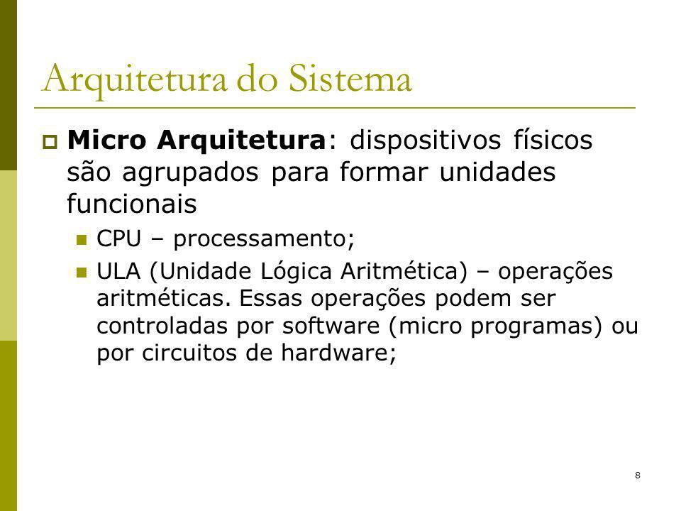 9 Arquitetura do Sistema Linguagem de Máquina: conjunto de instruções interpretadas pelos dispositivos que compõem a micro arquitetura; Possui entre 50 e 300 instruções; Realiza operações por meio de registradores; Baixo nível de abstração; Ex.: Assembler.