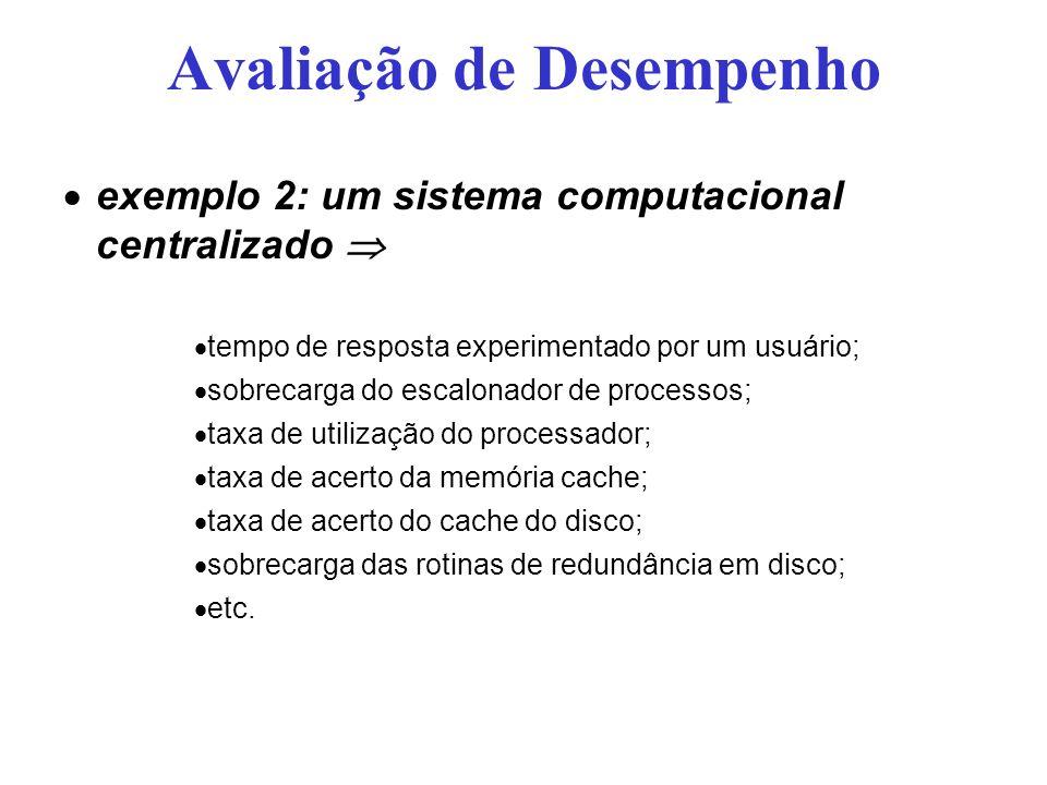Avaliação de Desempenho exemplo 2: um sistema computacional centralizado tempo de resposta experimentado por um usuário; sobrecarga do escalonador de