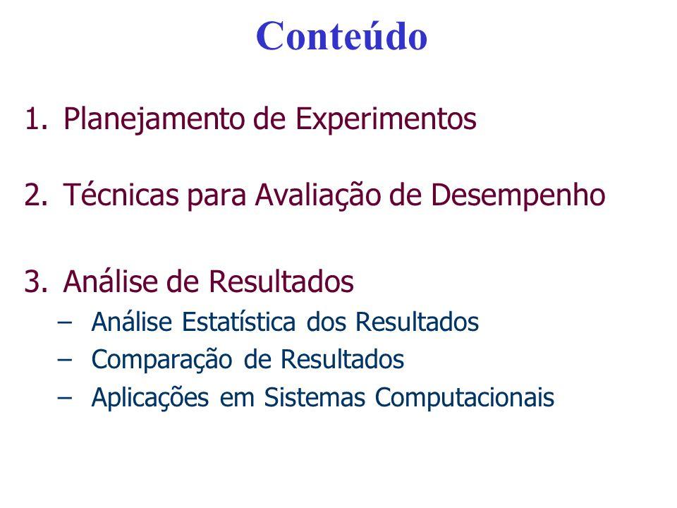 Conteúdo 1.Planejamento de Experimentos 2.Técnicas para Avaliação de Desempenho 3.Análise de Resultados –Análise Estatística dos Resultados –Comparaçã