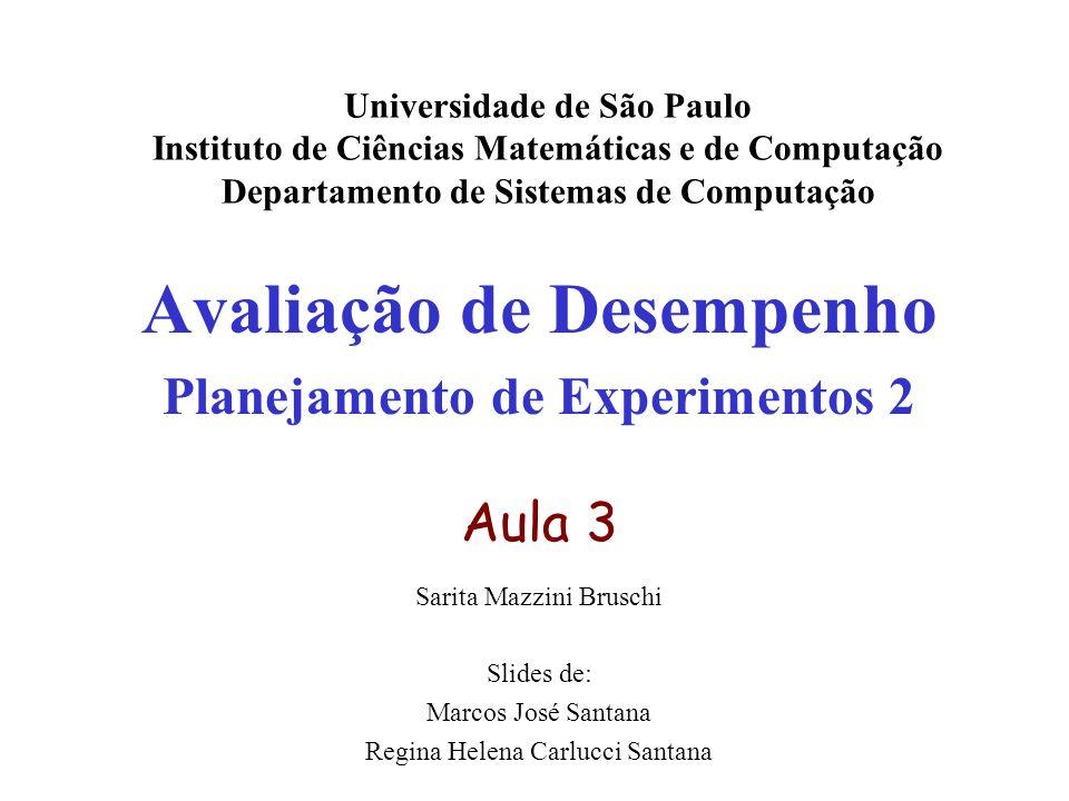 Avaliação de Desempenho Planejamento de Experimentos 2 Aula 3 Sarita Mazzini Bruschi Slides de: Marcos José Santana Regina Helena Carlucci Santana Uni