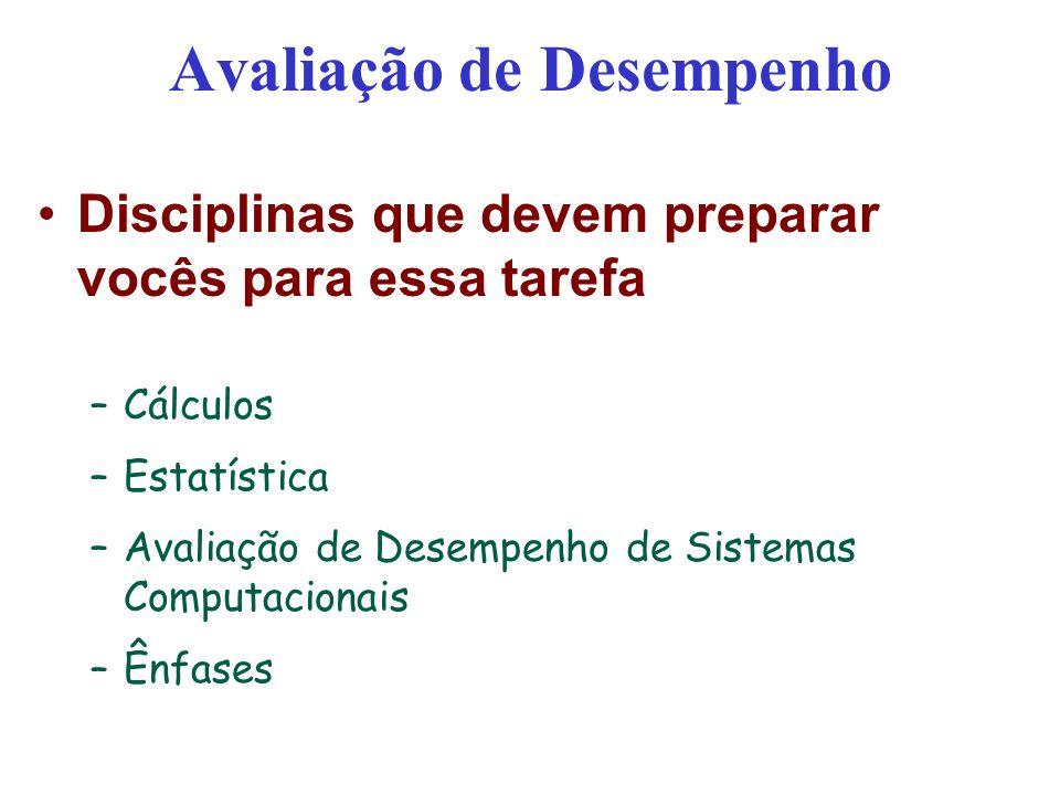 Avaliação de Desempenho Disciplinas que devem preparar vocês para essa tarefa –Cálculos –Estatística –Avaliação de Desempenho de Sistemas Computaciona