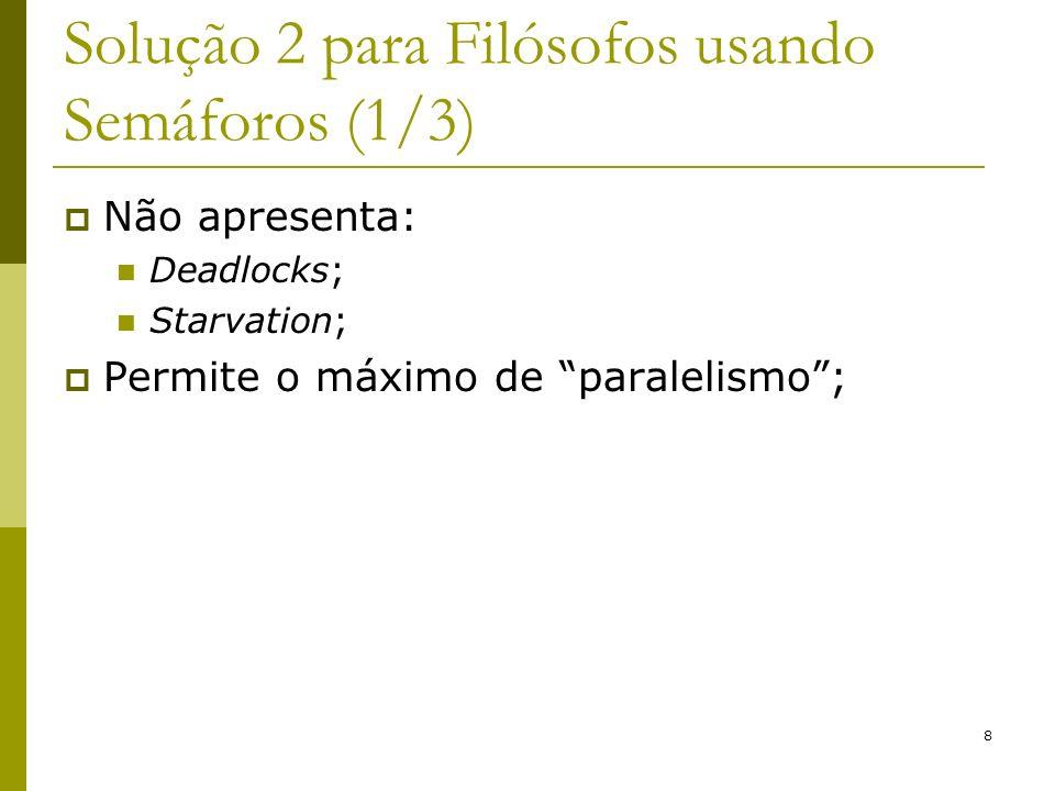 8 Solução 2 para Filósofos usando Semáforos (1/3) Não apresenta: Deadlocks; Starvation; Permite o máximo de paralelismo;