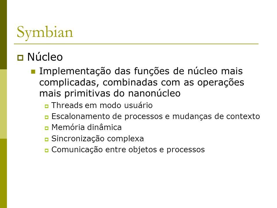 Symbian Núcleo Implementação das funções de núcleo mais complicadas, combinadas com as operações mais primitivas do nanonúcleo Threads em modo usuário