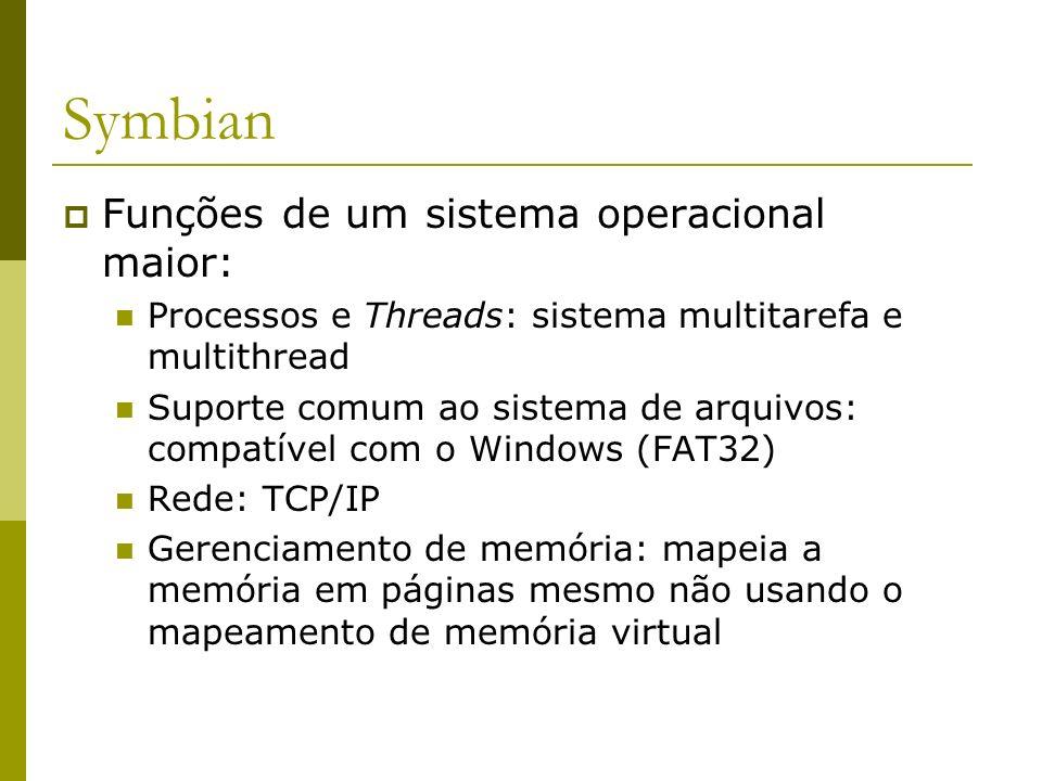 Symbian Funções de um sistema operacional maior: Processos e Threads: sistema multitarefa e multithread Suporte comum ao sistema de arquivos: compatív