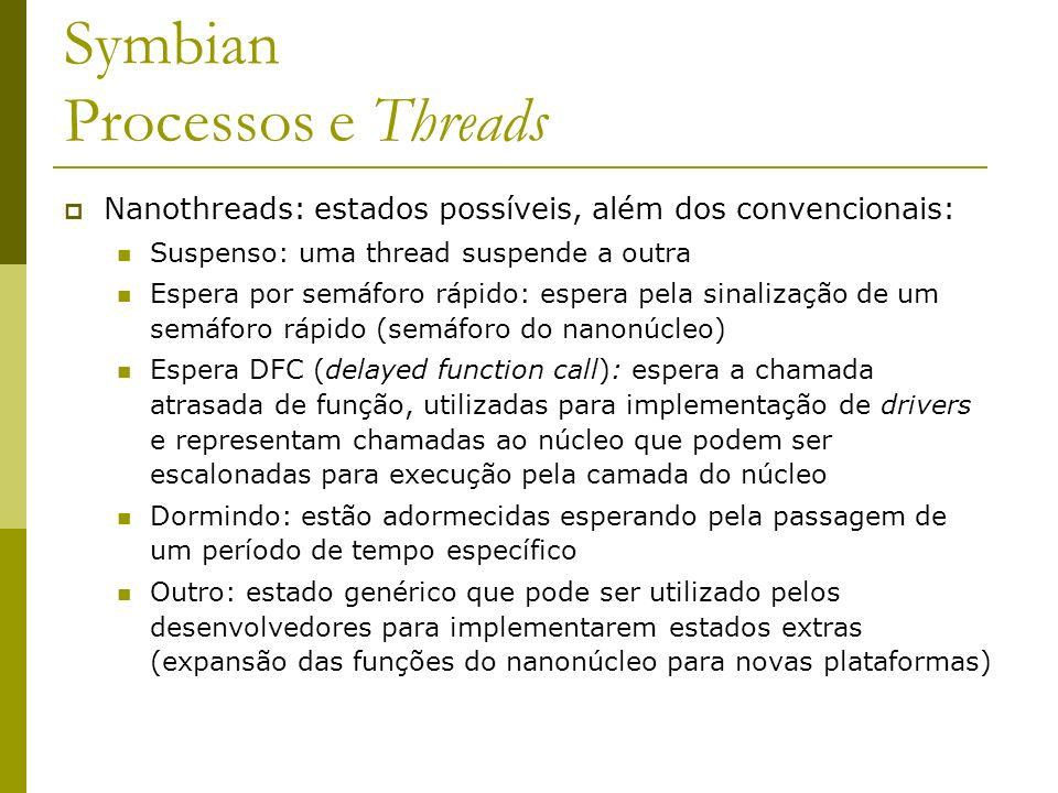 Symbian Processos e Threads Nanothreads: estados possíveis, além dos convencionais: Suspenso: uma thread suspende a outra Espera por semáforo rápido: